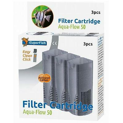 Superfish Aquarium Fish Tank Aqua Flow 50 Internal Carbon Filter Cartridges 3pc