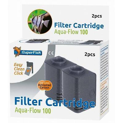 Superfish Aquarium Fish Tank Aqua Flow 100 Internal Filter Cartridges - 2 Pack