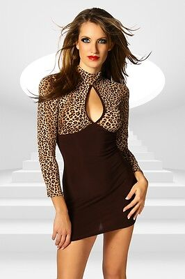 Sexy Minikleid Club Party Leoparden Design langes Shirt Langarm braun