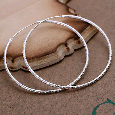 Lowest price wholesale solid silver 51mm frosted circle hoop earrings +box SE044