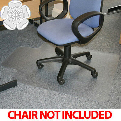 JVL Office Chair Desk T-shaped Hard Floor Protector Mat 90x120cm PVC No Grips