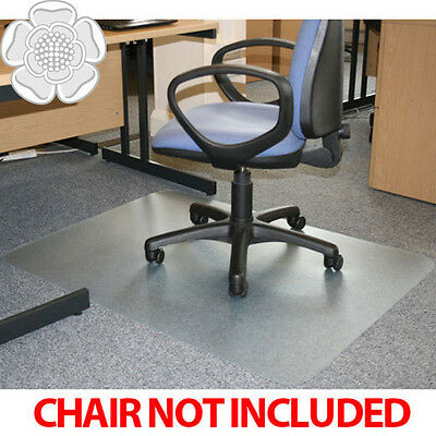 JVL Office Chair Desk Rectangular Hard Floor Protector Mat 90x120cm PVC No Grips