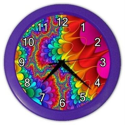 New  Rainbow Funky Retro Psychedelic Wall Hanging Clock Home Bedroom Office