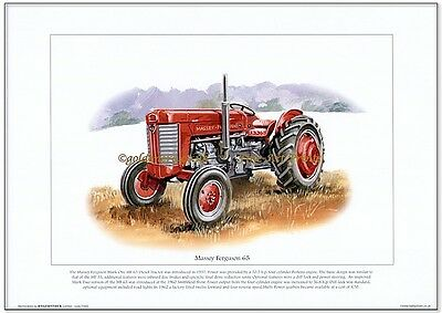 MASSEY FERGUSON 65 TRACTOR - FINE ART PRINT - Mark 1 MF 65 Perkins Diesel model