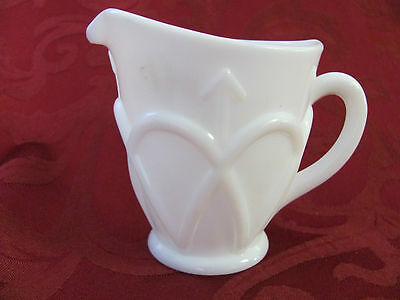 Imperial Glass white milk glass creamer bow arrow marked