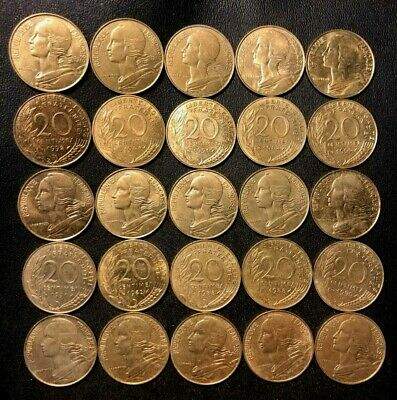France Coin Lot - Twenty Five 20 Centime Coins - Free Shipping!!!!