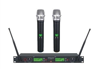 GTD Audio 2x800 Channel UHF Diversity Wireless Microphone Mic System 733H