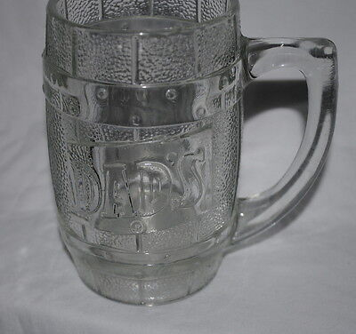 Dad's Root Beer, heavy glass mug, barrel design