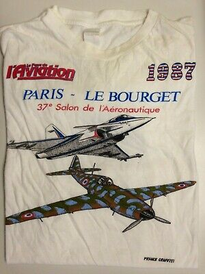 TEE SHIRT VINTAGE PARIS LE BOURGET 37e SALON DE L'AERONAUTIQUE 1987