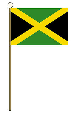 "JAMAICA HAND WAVING FLAG medium 9"" X 6"" wooden pole flags JAMAICAN KINGSTON"