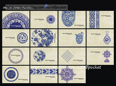 LOT 15x Unique Blue & White Porcelain Postcard Decoration Art Greeting Gift Card