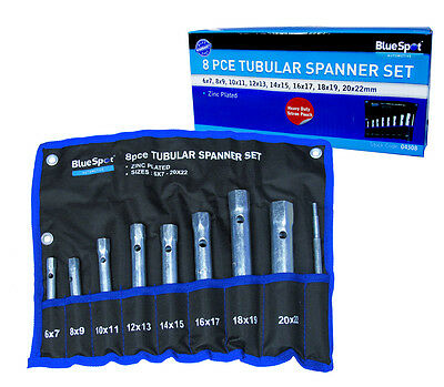 Blue Spot 8pce Tubular Spanner Set 6 -22mm, New In Pouch, Box Spanners, Plumber