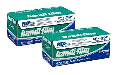 "Handi-Film 12""x2000' Plastic Food Service Film Cling Wrap 2 ROLLS! - HFA # 21205"