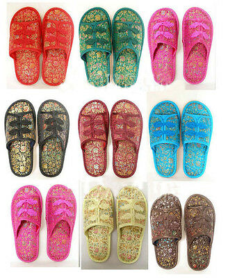 Wholesale 4pairs Chinese Handmade Vintage Silk Satin Women'S Men Shoes Slippers