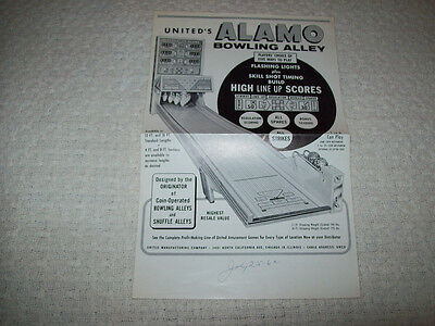 UNITED ALAMO BOWLING ALLEY BIG BALL BOWLER GAME ORIG SALES FLYER BROCHURE 1962