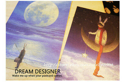 8x Comic Bunny Moon Starry Night Fairy Tale Postcards Picture Greeting Gift Card