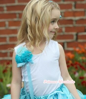 White Tank Top with Bunch of Light Peacock Blue Roses for Girl Pettiskirt NB-8Y