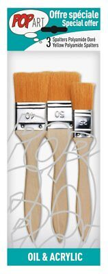 Pebeo Set of 3 Artist Spalter Paint Brushes - For Oil, Acrylic & Varnishing