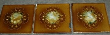 "3 Antique Hand Made Majolica Wall or Floor Tiles 6"" x 6"" x 3/8"" Thick"