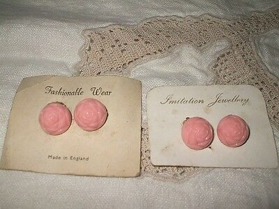 2 1950s Pairs PINK Moulded Early Plastic ROSEBUD Earrings 1.25cm Brass Clip Back
