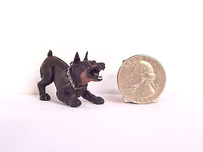 "NEW RARE Black Dobie Doberman Pinscher 1.25"" Figure Figurine Hood Hounds Dog"