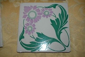 "Antique Art Nouveau Tiles 8"" x 8"" Majolica Floor Tile 1890s Lavender Flowers"