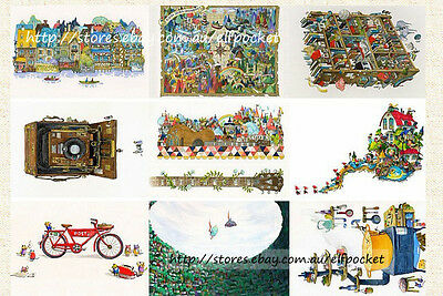 9x Comic Illustration Guitar Lilliput Postcard Picture Poster Greeting Gift Card