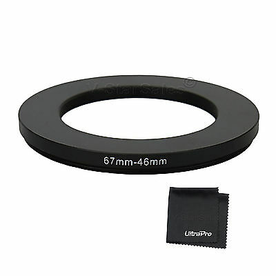 67-46mm Step-Down SLR Lens Metal Adapter Ring with UltraPro Microfiber Cloth