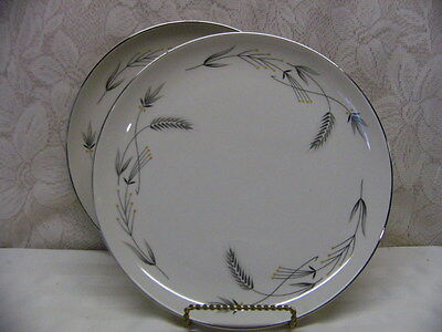 Taylor Smith Taylor China*silver Wheat*two Dinner Plates