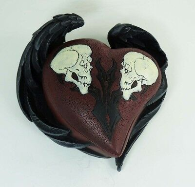 Winged Heart Shaped Jewelry Trinket Box Two Devil Skull In Love Figurine Statue
