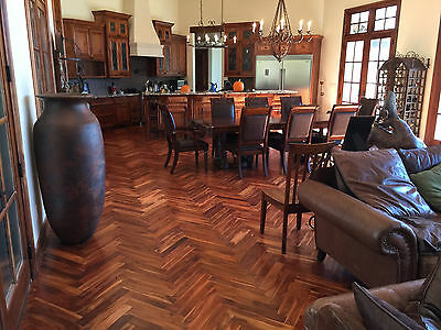 "Herringbone Acacia Golden Sage Brush 3/4"" x 3"" x 17.7""  Hardwood Flooring Sample"