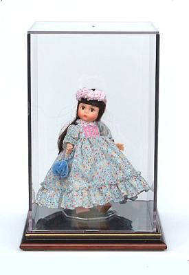"Doll Display Case with Wood Base - 13"" High - Economy Version"