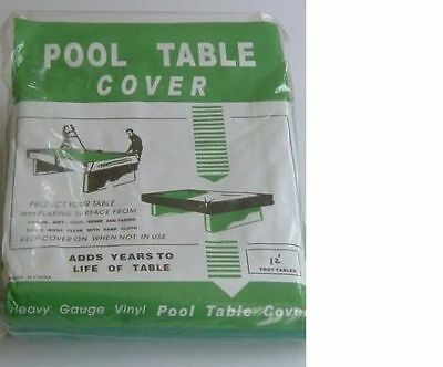 12ft SNOOKER / POOL TABLES LARGE GREEN SOFT DUST-PROTECTIVE COVER