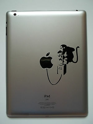 1 x Banksy Monkey Detonate Decal - Vinyl Sticker for iPad Mac Air Pro