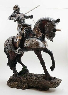 """Large Medieval Knight Armored Swordsman Cavalry Figurine Statue 15""""h Colored"""