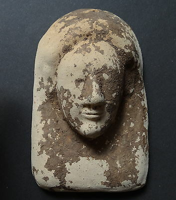 Mask Ex Voto Archaic Greek / Phoenician Punic Terracotta- Earthy Clay Pink/beige