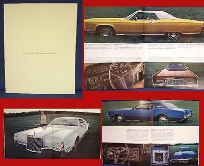 1972 LINCOLN Continental + Mark IV Color Sales Brochure - NOS New Old Stock