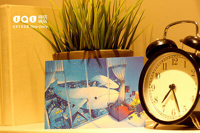 2pc Night In Dream Whale Illustration Comic Postcard Greeting Gift Card Decorate