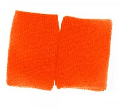 2 Orange Sport Wrist Sweatbands Tennis Squash Badminton Gym Wristband Set Soft