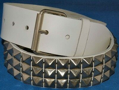 White Real Leather 3 Row Pyramid Studded Belt 50mm 2'' Punk Goth Snap on Buckle