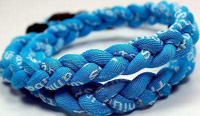 "Wholesale Lot of 12 Titanium Tornado Sports Necklaces 20"" Light Blue Braided"