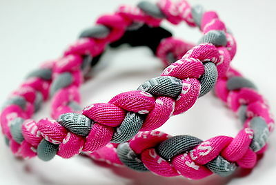 "Wholesale Lot of 12 Titanium Tornado Sport Necklaces 20"" Pink Gray Grey Braided"