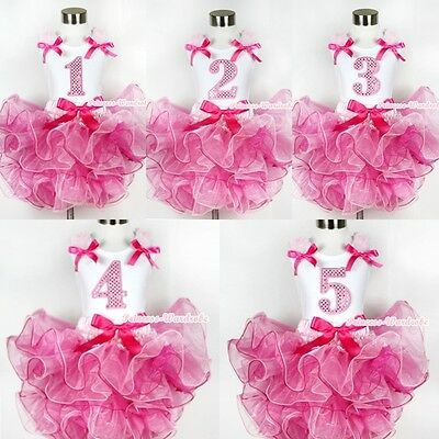 Hot Light Pink 8 Layered Pettiskirt Pink Sparkle Number Ruffle Pink Bow Top 1-8Y