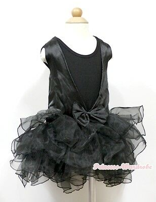 Pageant Black See Through Lace Back Girl 3 Layer Ballet Tutu Dress 2-7Year PD039