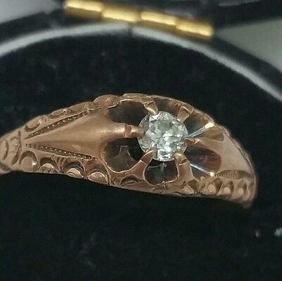 Vintage 1800's Antique Old European Cut Diamond Belcher Ring 12K Victorian