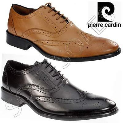 Mens Pierre Cardin Leather Shoes Italian Formal Office Brogue Smart Wedding Shoe
