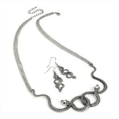Antique Silver Snake Serpent Knot, Cleopatra Pharaoh Egyptian Necklace Earrings