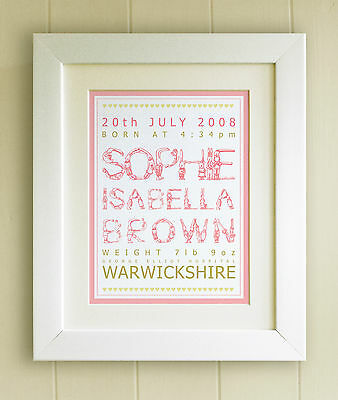 PERSONALISED New Baby/Birth FRAMED PRINT, 5 Designs Boy/Girl, Picture Gift - LCN