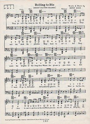 Vintage MT. MOUNT HOLYOKE COLLEGE song sheet - 'ROLLING TO RIO'  1929 music - MA