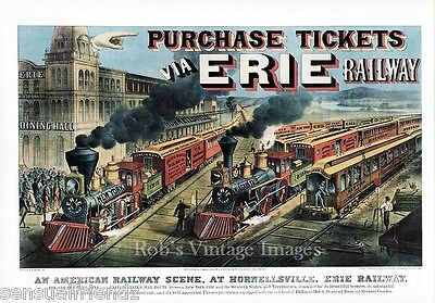 Erie  Railroad Poster 1880  Vintage New York Cincinnati Cleveland Art Print
